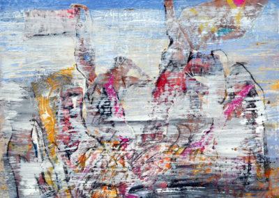 Es gibt nicht nur Wasser und Sand, sondern auch schöne Nixen am Srand, Collage auf Papier, 21x21cm