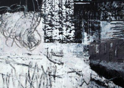 AUSSEN, 2009, MT auf Papier, 21x21cm