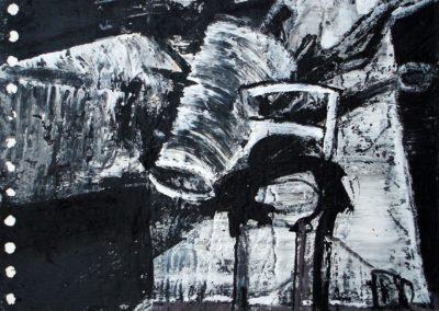 CHEFSESSEL, 2009, MT auf Papier, 21x21cm