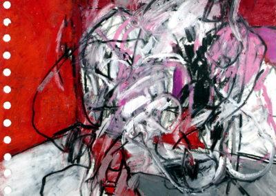 Ekstase, 2008, Mt auf Papier, 21x21 cm