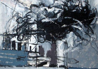 Landschaft, 2009, MT auf Papier, 21x21cm