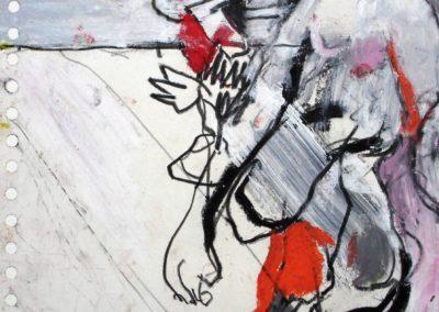 Ohne Handy, 2008, Mt auf Papier, 21x21cm