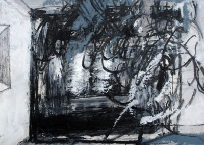Schwebendes im Raum, 2008, MT auf Papier, 21x21cm